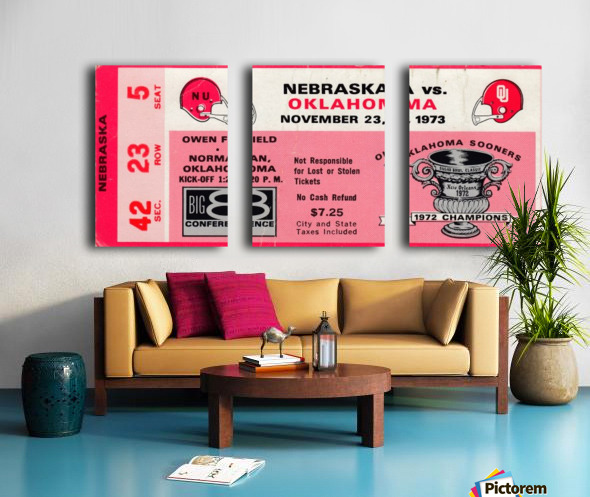 1973_College_Football_Oklahoma vs. Nebraska_Owen Field_University of Oklahoma Football Tickets Split Canvas print