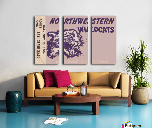 Northwestern University Wildcats College Football Wall Art Ticket Stub Split Canvas print