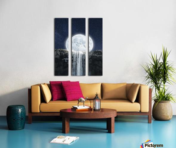 Moon Waterfall Fantasy Split Canvas print
