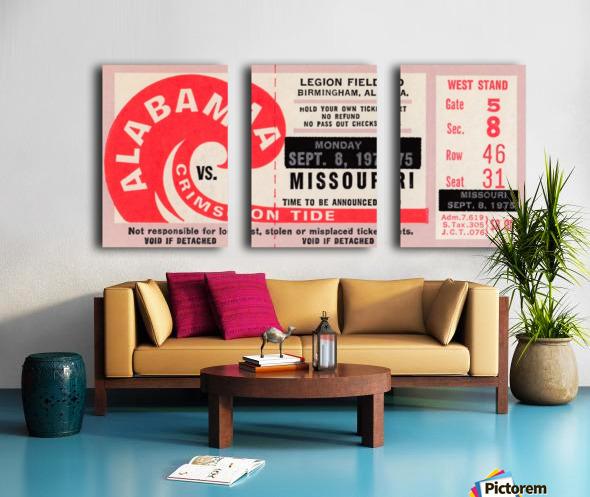 1975 College Football Ticket Collection_Alabama vs. Missouri_College Ticket Stub Art (1) Split Canvas print