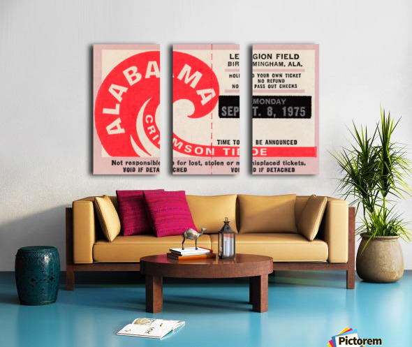 University of Alabama Crimson Tide Football Ticket Stub Art Poster Split Canvas print