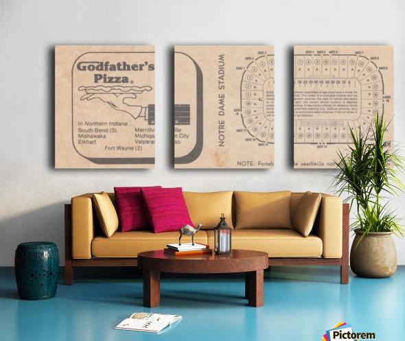 Retro Stadium Maps_Notre Dame Stadium Map_1982_South Bend Indiana Maps_Godfathers Pizza Ad_Artwork Split Canvas print