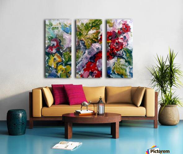 Flowers and Leaves Split Canvas print