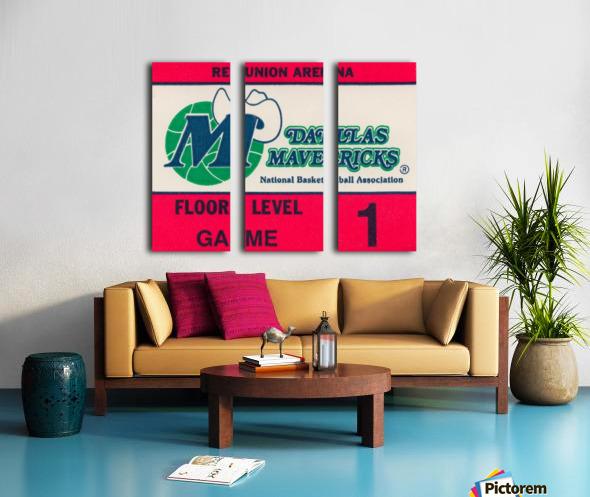 Vintage Dallas Mavericks Wall Art_Ticket Stub Artwork Reproduction Split Canvas print
