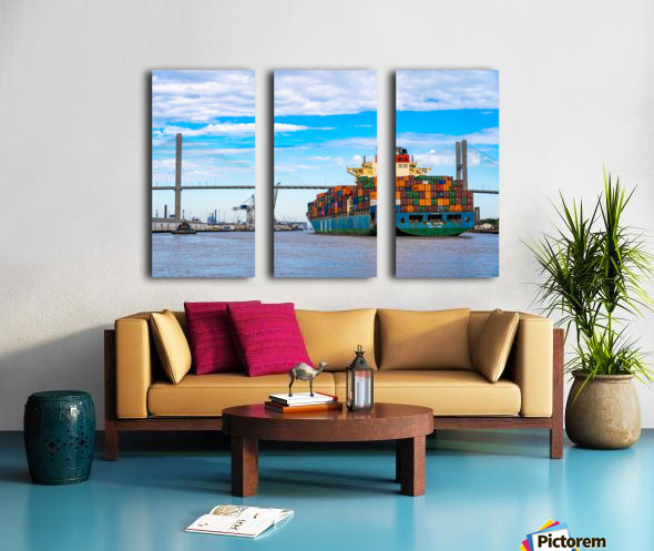 Cargo Ship on the Savannah River 04044 Split Canvas print