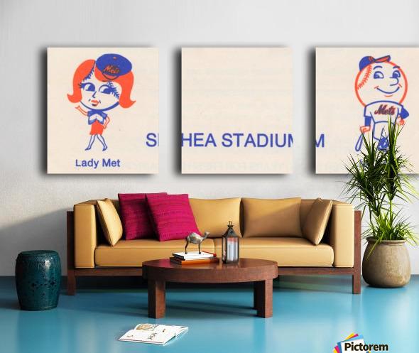 1977 new york mets art reproduction shea stadium retro baseball artwork row one brand Split Canvas print