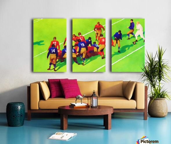 Vintage Football Art Sunny Day Gridiron Artwork Split Canvas print