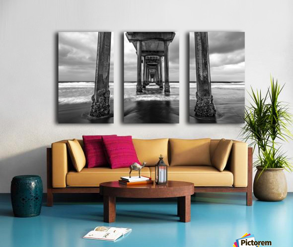Scripps Pier in B&W Split Canvas print