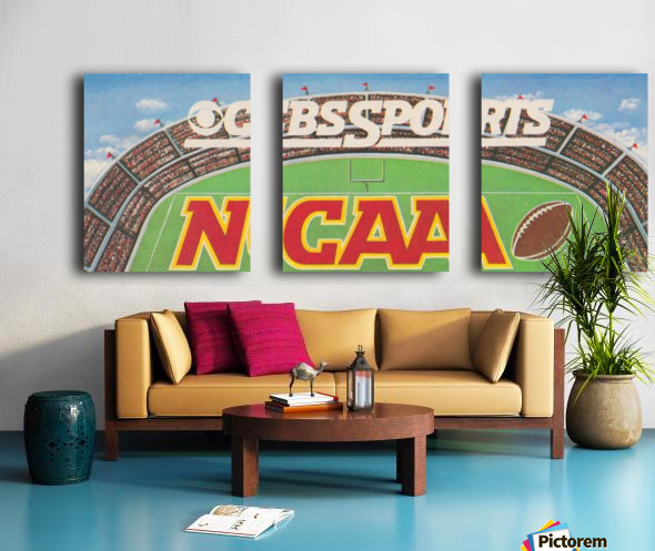 CBS Sports NCAA Football Ad Reproduction_Vintage Sports Ads_Retro 1980s Ad Split Canvas print