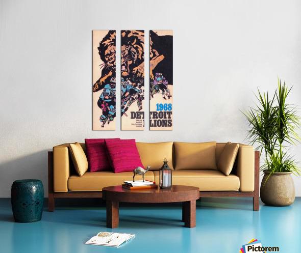 1968 Detroit Lions NFL Press Guide Reproduction Art_Detroit Michigan Gift Ideas Split Canvas print