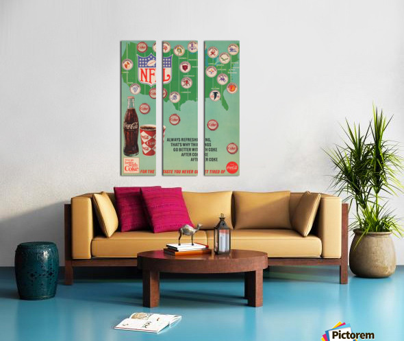 Vintage Coke NFL Bottle Cap Ad Split Canvas print