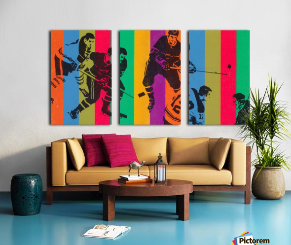 vintage hockey art colorful sports art poster Split Canvas print