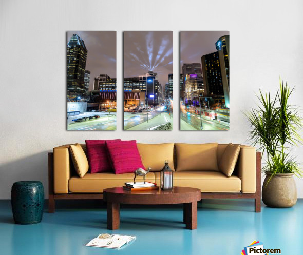 Close up city buildings at night Split Canvas print