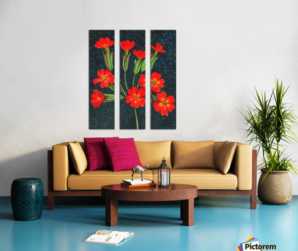 Red flowers shining in a magical starry night Split Canvas print