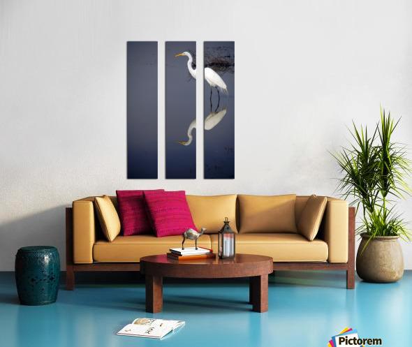White Egret Reflection Split Canvas print