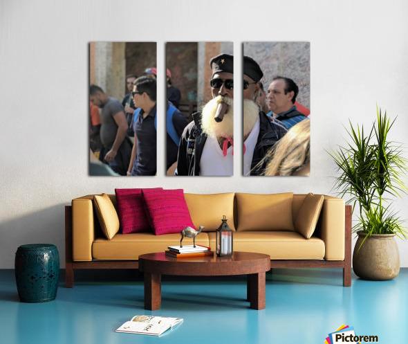Cuban smoking cigar Split Canvas print