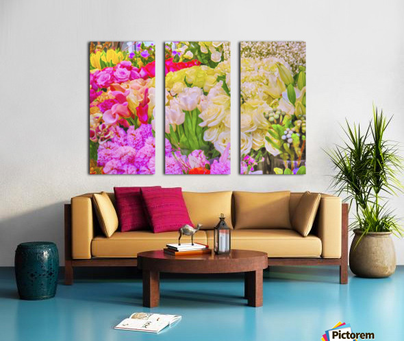 Abstract colorful flowers Split Canvas print