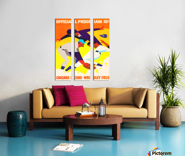 1967 Chicago Cubs Wrigley Field Program Poster_Vintage Cubs Art Split Canvas print