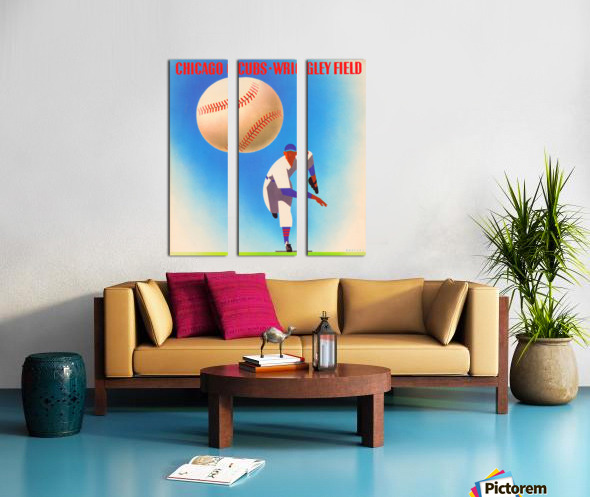 Retro Remix_Chicago Cubs Wrigley Field Art Poster_Vintage Cubs Artwork_Vintage Baseball Poster Split Canvas print