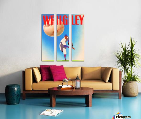 Row One Brand Sports Art Remixes_Public Domain Sports Art Remix_Chicago Cubs Wrigley Poster Split Canvas print