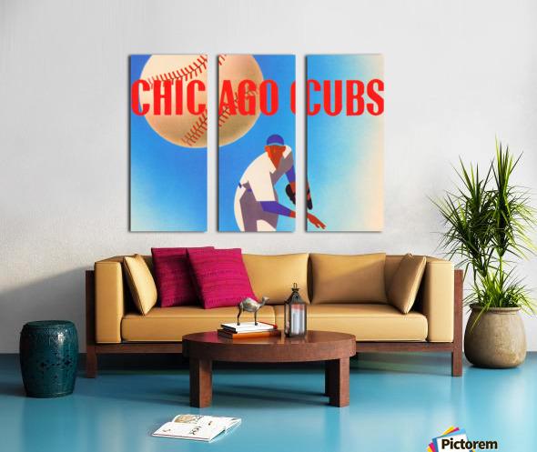 Sports Art Remixes_Public Domain Sports Art Creations_Chicago Cubs Poster (1950) Split Canvas print