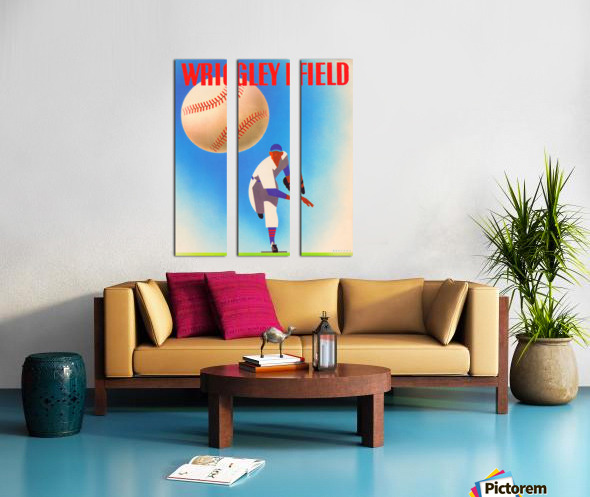 RowOneBrandWrigleyFieldArtRemixes_PublicDomainSportsArtRemixes_ChicagoCubsPoster Split Canvas print