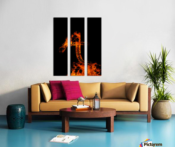 Burning on Fire Letter A Split Canvas print