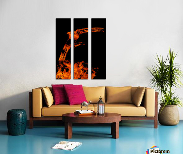 Burning on Fire Letter F Split Canvas print