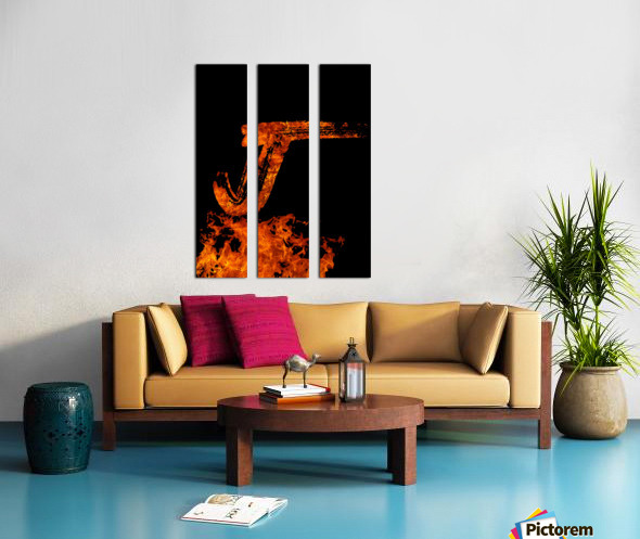 Burning on Fire Letter J Split Canvas print