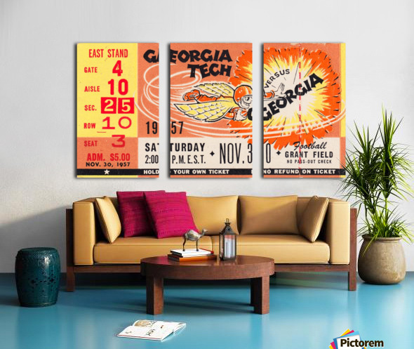 College_FootballArt_GeorgiaTechvs.Georgia_GrantField_TicketStubArt Split Canvas print