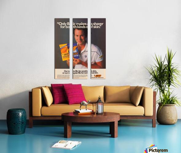 row one vintage sports ads retro bic shaver john mcenroe tennis poster Split Canvas print