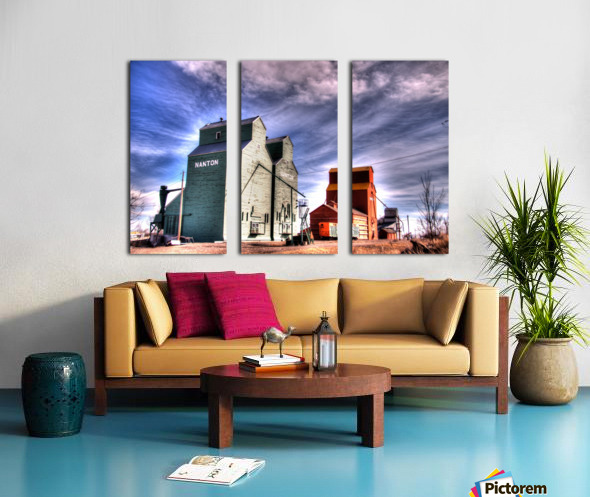 Grain Elevators in Nanton Alberta Split Canvas print