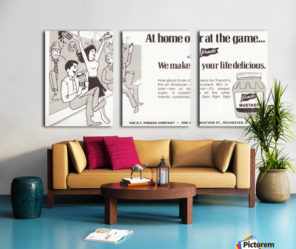 vintage frenchs mustard ad retro food advertisements poster print metal sign wood art Split Canvas print