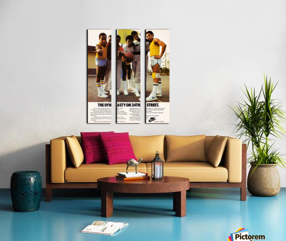 1981 vintage nike shoe ads dynasty on 34th street retro basketball poster Split Canvas print