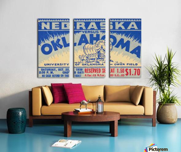 oklahoma football metal sign sooners ticket stub collection row 1 row one vintage sports art brand Split Canvas print