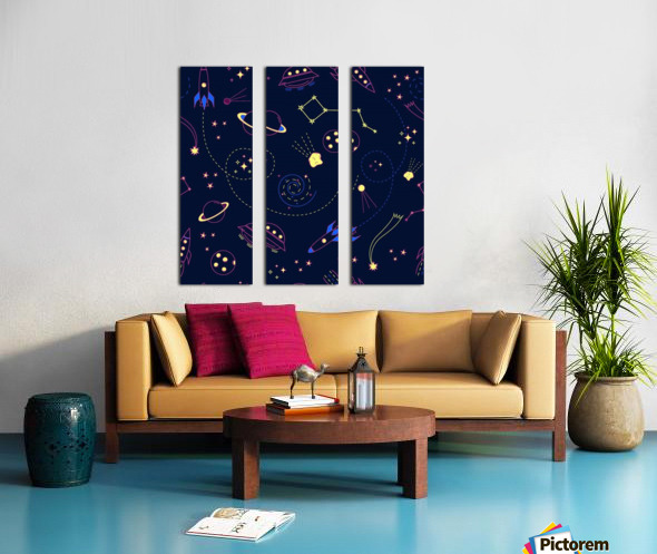Cartoon space seamless pattern vectors Split Canvas print