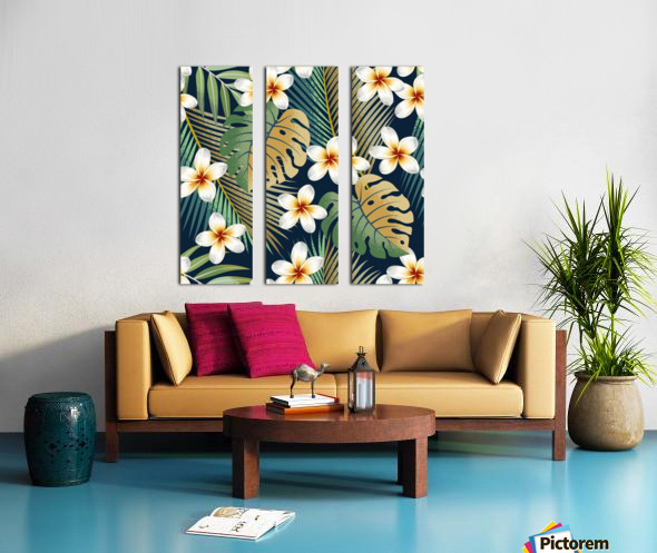 seamless pattern with tropical strelitzia flowers leaves exotic background_ Split Canvas print