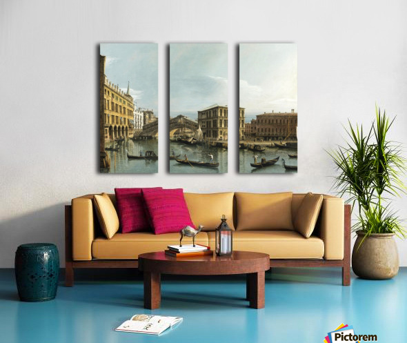 Venice. View of the Grand Canal with the Rialto Bridge, Seen from the North Split Canvas print