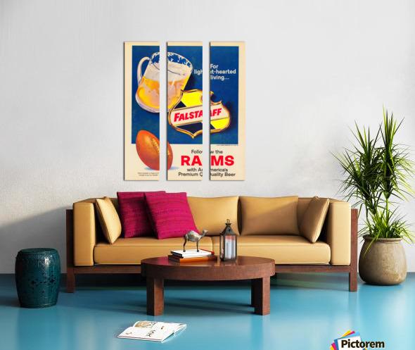 vintage falstaff beer ad poster la rams retro football metal sign Split Canvas print