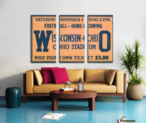 ticket stub metal sign osu buckeyes football vintage tickets wood prints Split Canvas print