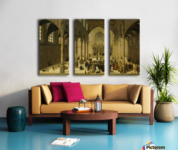 Church interior with Christ preaching to a crowd Split Canvas print