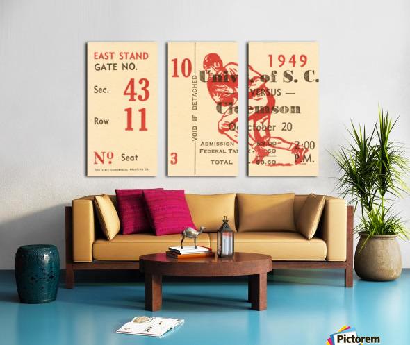 1949 south carolina gamecocks palmetto bowl ticket stub wall art metal sign wood prints Split Canvas print