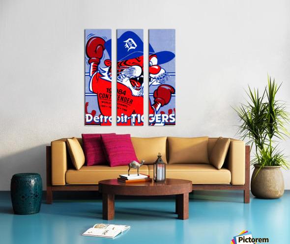 vintage detroit tigers poster retro sports art 1980s posters Split Canvas print