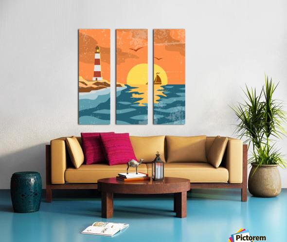 sea retro poster Split Canvas print