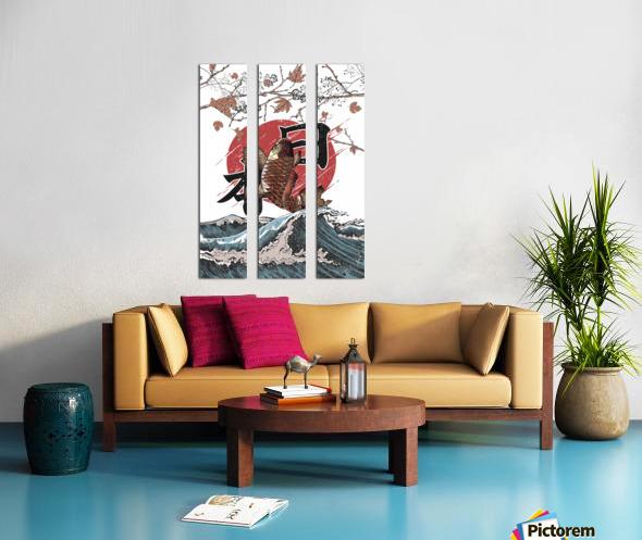 Koi fish fly waves Split Canvas print