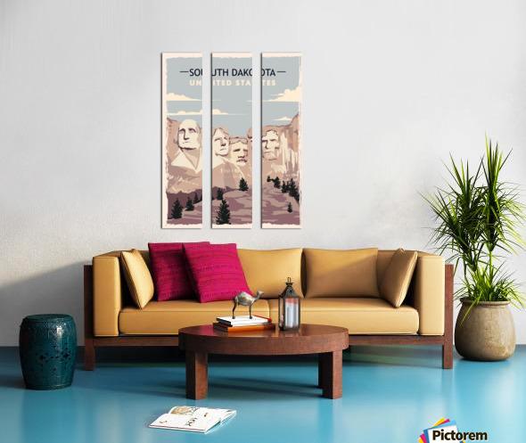 south dakota retro poster usa south dakota travel illustration united states america Split Canvas print