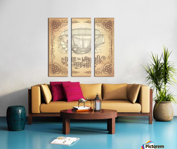 Vector steampunk poster illustration fantastic wooden flying ship Split Canvas print