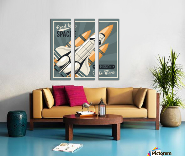 Life space poster with mars rocket rockets vintage Split Canvas print