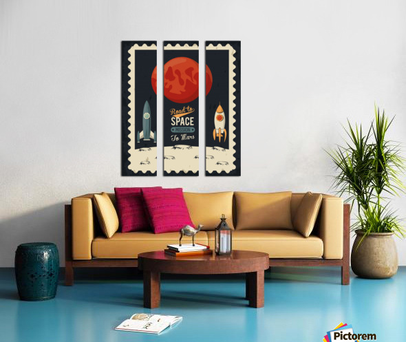 Life space poster with mars rocket rockets Split Canvas print