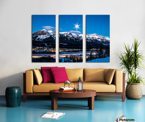 Canmore Morning Moon Over Rundle Mountain Split Canvas print